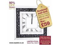 HAZELWOOD WALL CLOCK WITH FLOATING CRYSTALS