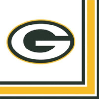 GREEN BAY PACKERS FOOTBALL LUNCHEON NAPKINS, NFL Party Supply Table Decor 6/6C (Green Bay Packers Party Decorations)