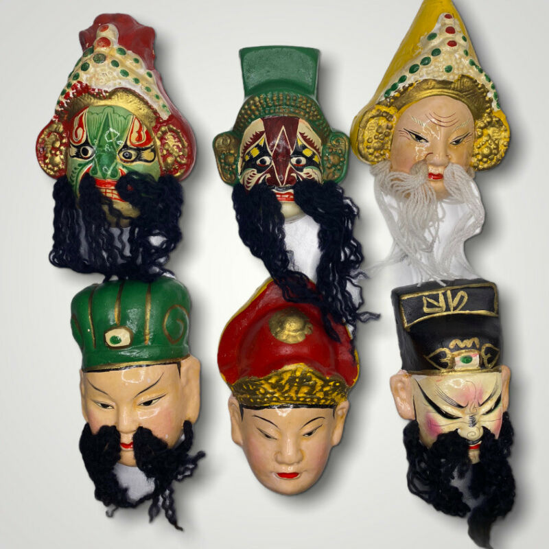 VINTAGE 6 Small Hand painted KABUKI CLAY ORIENTAL MASKS HIGHLY DETAILED