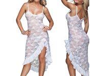 Women Sleepwear Lingerie Underwear Long Lace Sexy Babydoll Nightwear White UK M £20.00 FREE PP