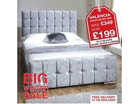 BRAND NEW STUNNING VALENCIA CRUSH VELVET BED *FREE NEXT DAY DELIVERY *
