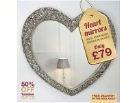 HEART MIRRORS, WITH ENGRAVED ROSES IN SILVER