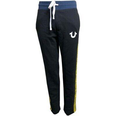 New Mens Genuine True Religion Sport Stripe Sweat Pants/Joggers Black/Yellow XL