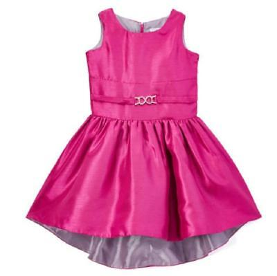 Girls Mia Juliana Magenta Hi-Lo Shantung Party Dress NWT Sleeveless Hot Pink (Girls Hot Pink Dresses)