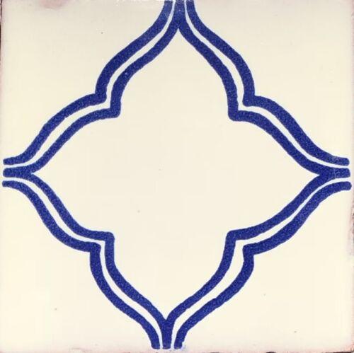 "30 Talavera Pottery 4"" tile Mexico Classic cobalt blue creamy off white vintage"