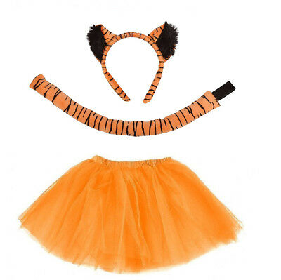 TIGER TUTU COSTUME Fancy Dress Orange Tutu, Ears and Tail Animal Accessory Set - Tiger Fancy Dress Costume