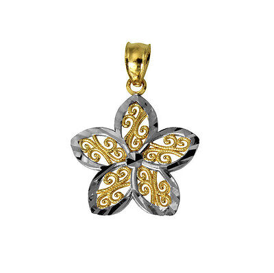 14K Real Yellow and White 2 Two Tone Gold Very Small Light Flower Charm Pendant (14k Two Tone Light)