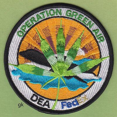 DEA FEDEX GREEN AIR DRUG OPERATION  MARIJUANA POLICE SHOULDER PATCH