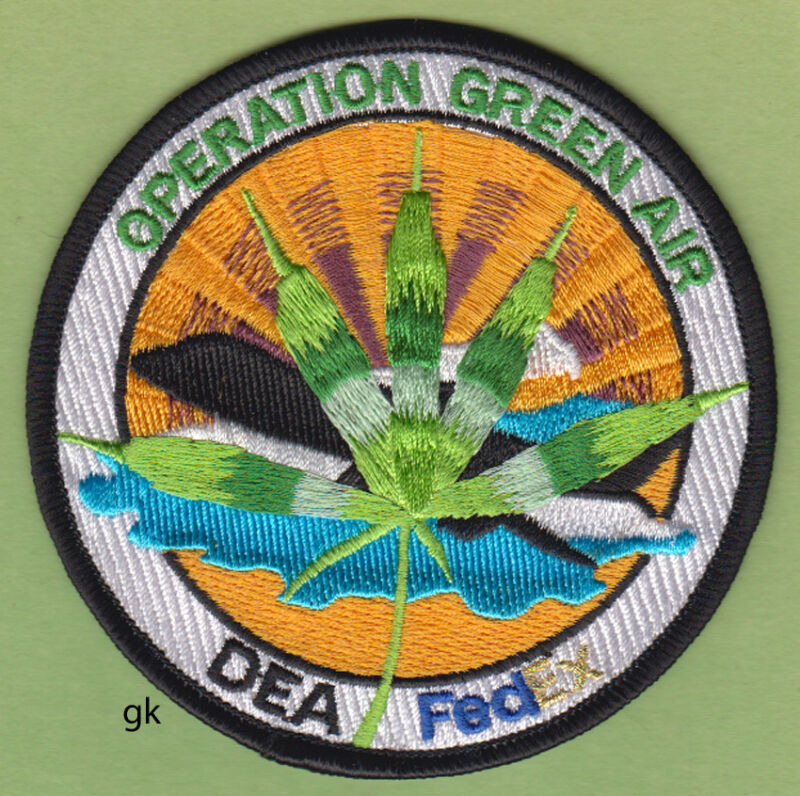 DEA FEDEX GREEN AIR DRUG OPERATION  MARIJUANA POLICE SHOULDER PATCH