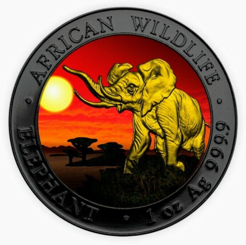 2016 Somalia AFRICAN ELEPHANT AT SUNSET Colorized Ruthenium Silver Coin, Box-COA