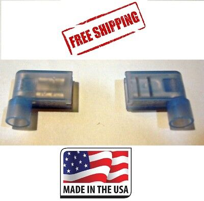 (50) Blue Female Flag Terminals RIght Angle Electrical Connectors 16-14 Gauge