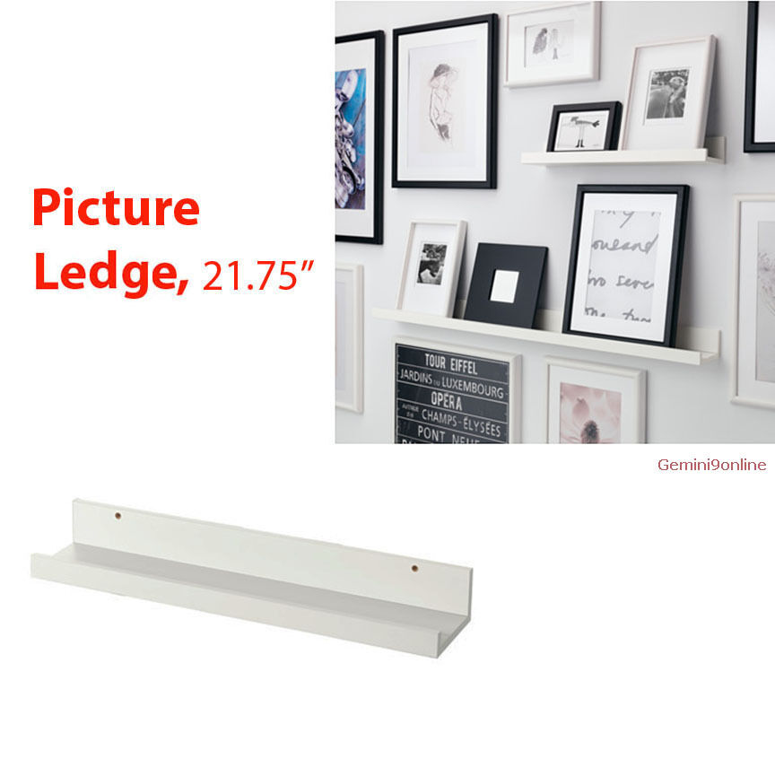 "IKEA picture ledge 22/"" floating shelf black white spice book holder MOSSLANDA"