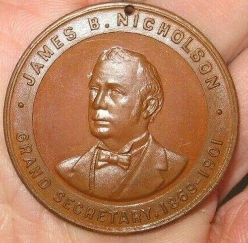 vtg 1901 Odd Fellows I.O.O.F. Grand Secretary James B. Nicholson Member Medal