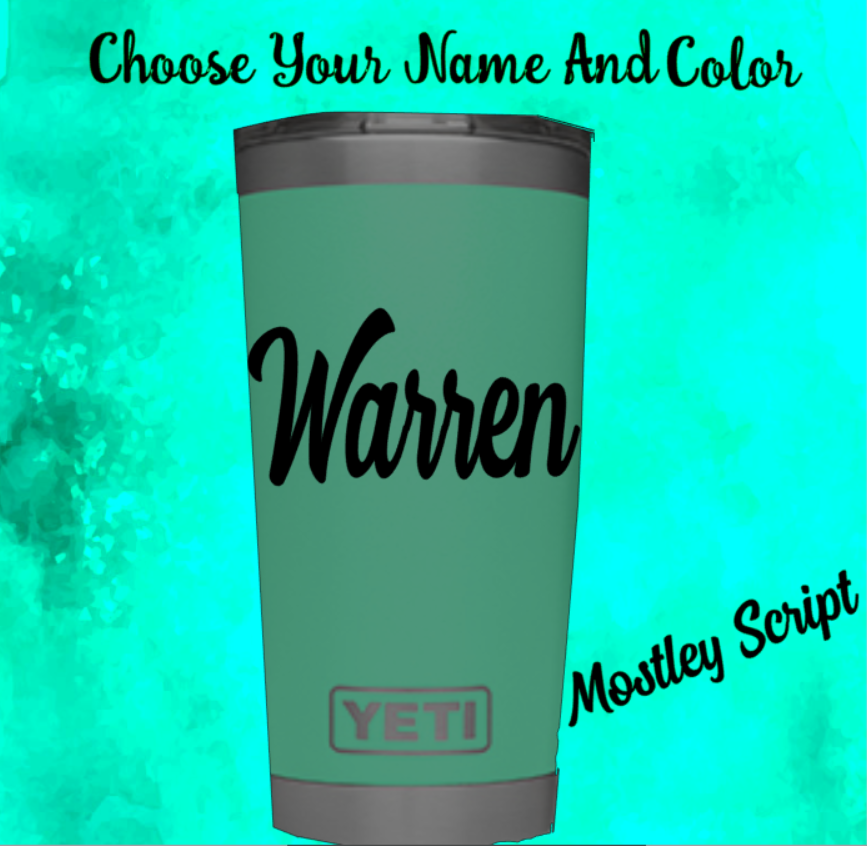 Home Decoration - Monogram vinyl decal for Tumblers,Ramblers,Cups Sticker, Personalized Name  2.5""