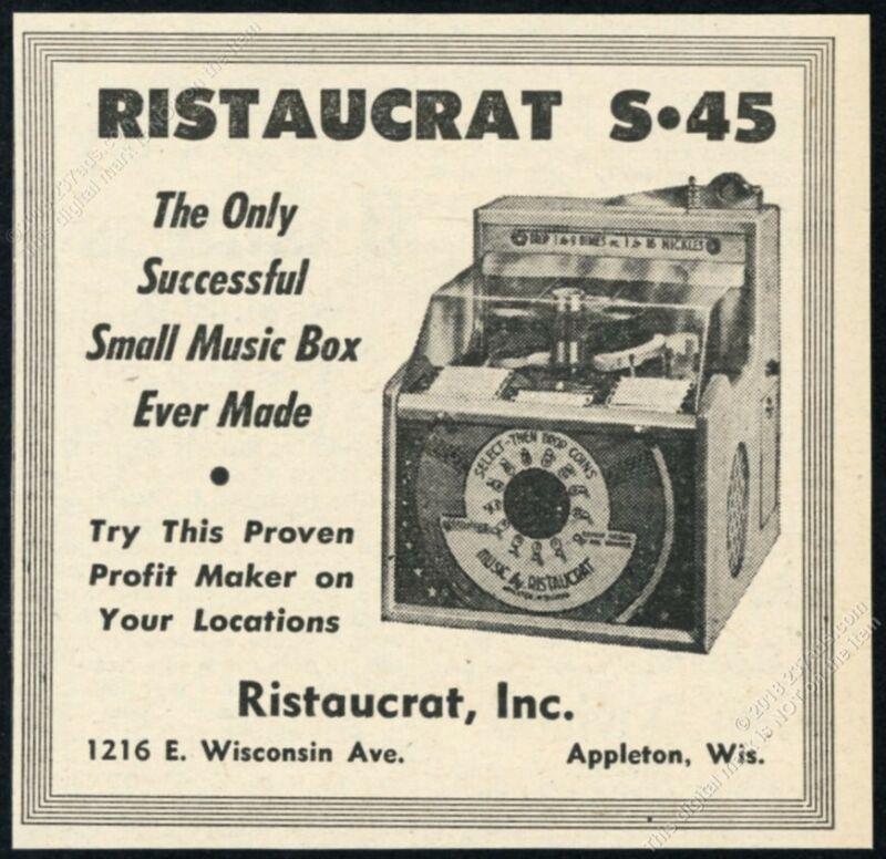1952 Ristaucrat S45 S-45 45 rpm jukebox photo vintage trade print ad