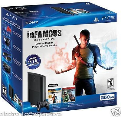 Sony PlayStation 3 PS3 SUPER SLIM 250GB w/ 2 DRAKES UNCHARTED & InFAMOUS 500GB  on Rummage