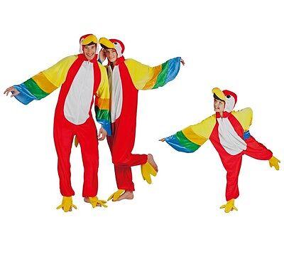 Karneval Vogel Kostüm (Kostüm Papagei Damen Herren Kinder Familie Karneval Papageikostüm bunter Vogel)