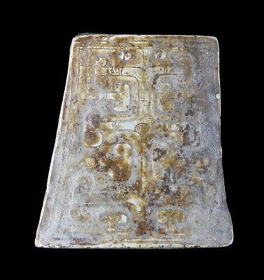 CALCIFIED JADE SCABBARD CHAPE - SWORD FINIAL - 3RD CENTURY B.C. HAN DYNASTY