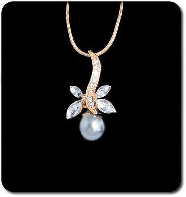 Collar de Perlas Set De Cadena Colgante Cristal Boda Perla Tahití Imität...