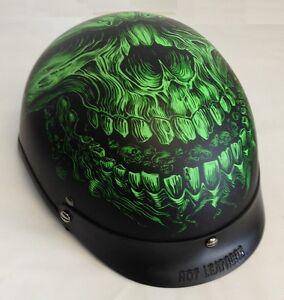 Green Shredder Skull DOT Approved Shorty Half Motorcycle ...