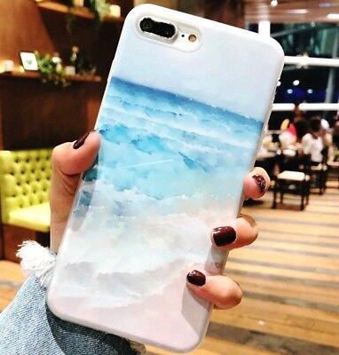 iPhone 5S/6/6S+/7/7+/8+/XS - HARD RUBBER GUMMY CASE COVER BLUE WHITE BEACH WAVES - White Gummy