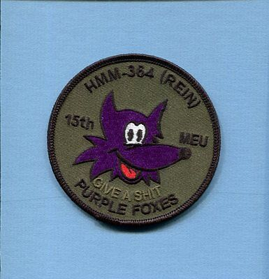 HMM-364 PURPLE FOXES 15th MEU USMC MARINE CORPS Subdued Helicopter Squadron Patc