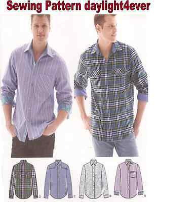 Men Western Rodeo Casual Shirt L/S Button Front Sewing Pattern 1544 Size 44-52 r