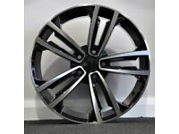 "x4 18"" Golf Seville Style Alloy Wheels VW Golf Caddy Audi A3 A4 TT Black Pol"