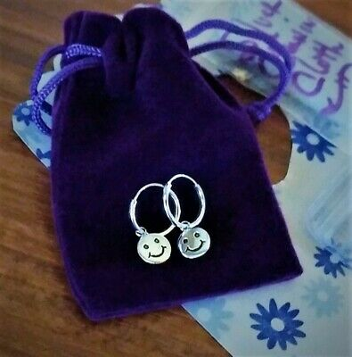 Pure 925 Sterling Silver Smiley Face Emoji Hoop Tiny Earrings + Extra $16 Value! 925 Sterling Silver Value
