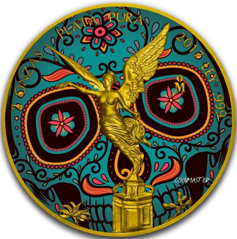 2017 Mexican DAY OF THE DEAD LIBERTAD 2 Oz Silver Coin, 24K GOLD..  FIRST COIN.