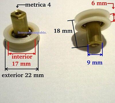 10 RUEDAS DE MAMPARA 22 mm (ruletas rodamientos o para ventanas rueda...