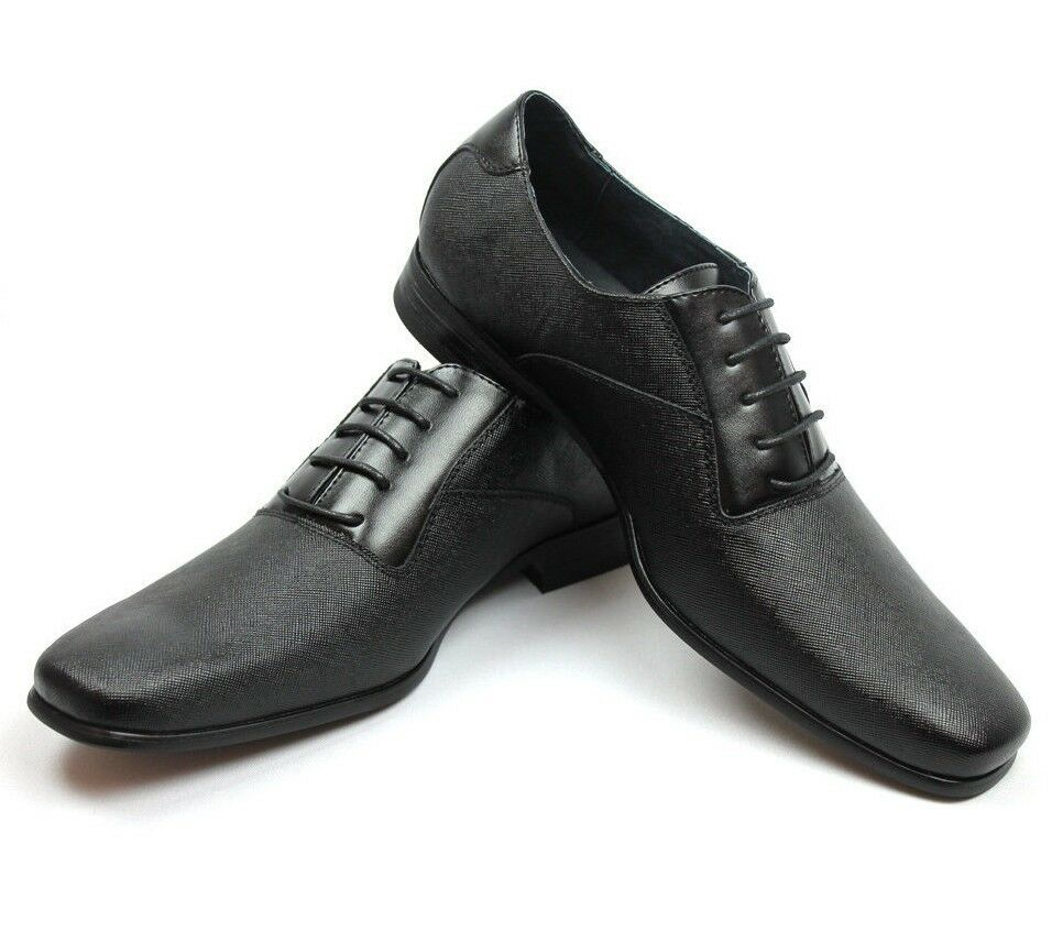 New Mens Ferro Aldo Black Herringbone Dress Shoes Leather Sn