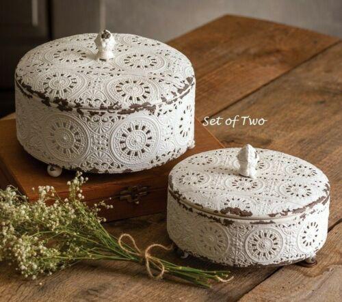 NEW Chippy White TRINKET BOXES SET OF 2 ROUND Cottage Chic Shabby Doily Design