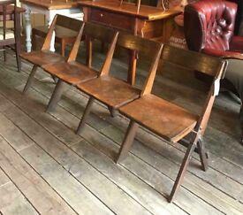 Antique Four Seater Folding Bench- Cinema / Church