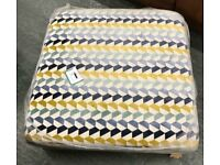 Patterned Large Square Footstool Pouffe