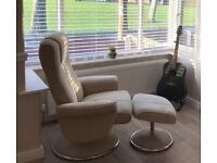 Fabric Recliner Chair with Footstool - excellent condition