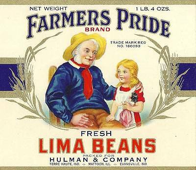 Canning Lima Beans - Farmer's Pride Lima Beans Can Label Hulman & Co. Terre Haute & Evansville, In.