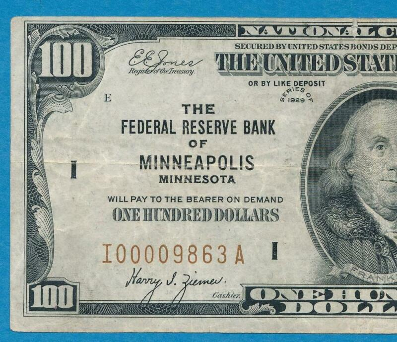 $100. 1929  MINNEAPOLIS   BROWN SEAL FEDERAL RESERVE BANK NOTE VF