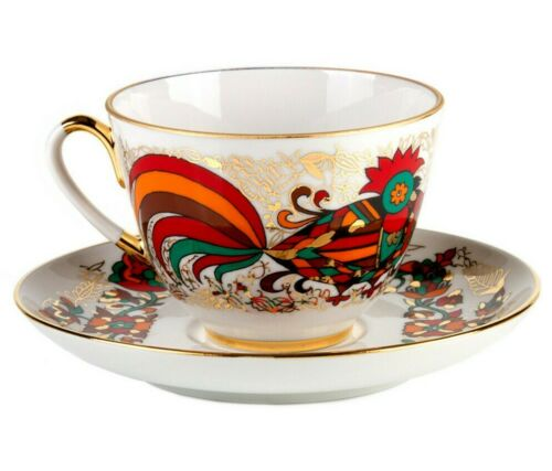 Red Rooster TeaCup & Saucer Imperial Porcelain Lomonosov Bone China