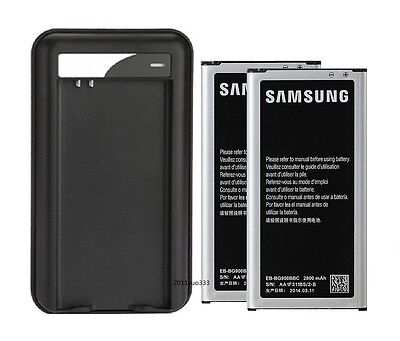 New 2x2800mAh Battery+Charger for Samsung Galaxy S5 i9600/G900A/