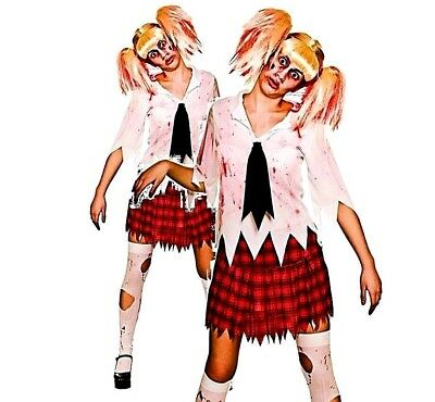 Ladies ZOMBIE STUDENT Halloween School Girl Scary Fancy Dress Costume UK - Scary School Girl Kostüm