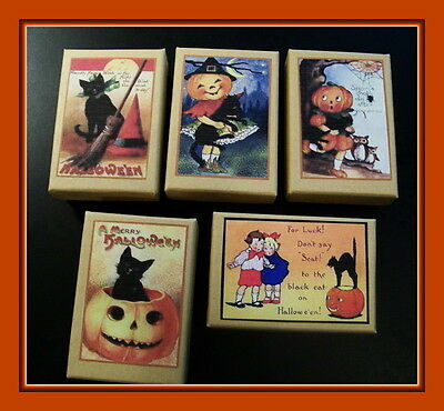 SET OF FIVE HALLOWEEN GIFT BOXES WITH VINTAGE DESIGNS](Halloween Five)