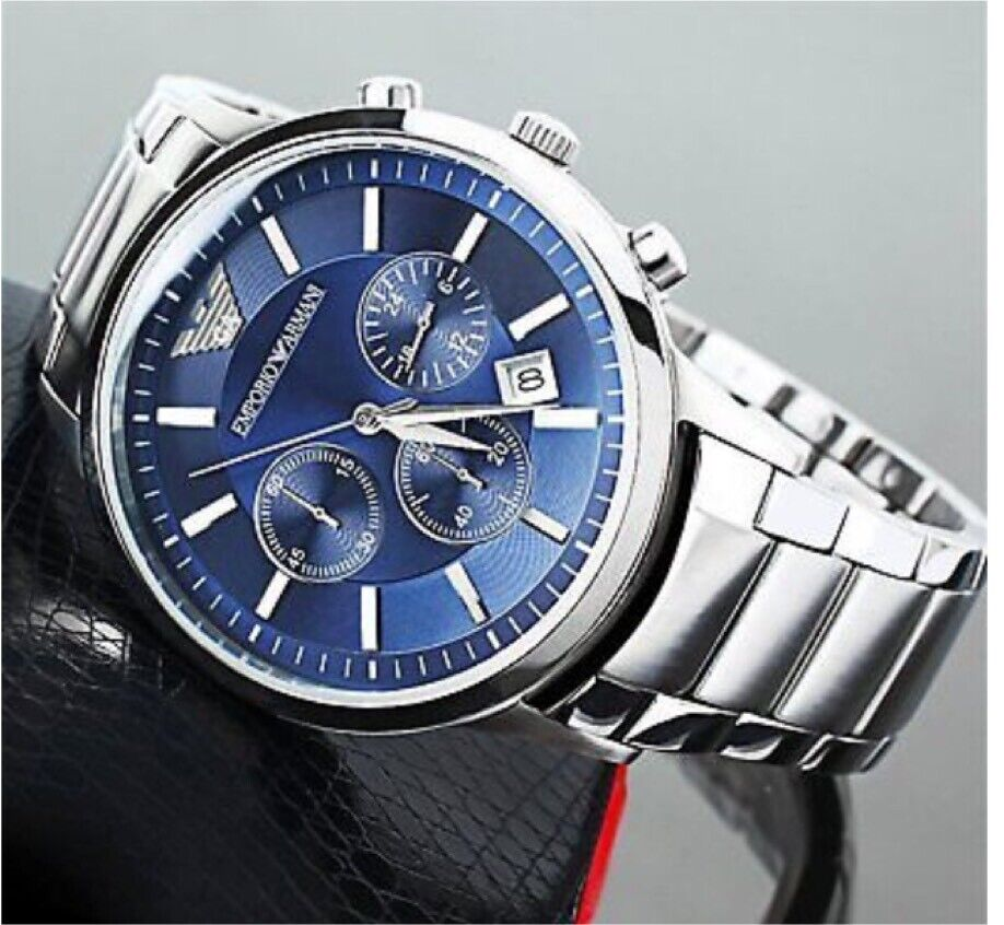 dbbeed745fb0 New genuine Emporio Armani men s AR2448 - watch blue dial stainless steel