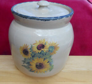 Home Garden Party Sunflower Canister Pottery Tea Stoneware
