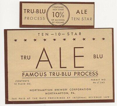 Northampton Brewery Tru Blu Ten Star Ale label with neck IRTP U# PA