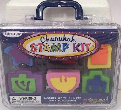 New Rite Lite Chanukah Stamp Kit 5 Stamps + Ink Pad Hanukkah Dreidel Menorah