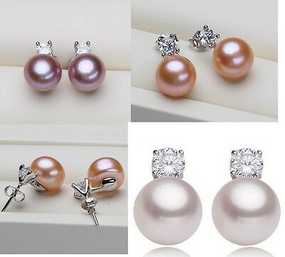 7-8mm Freshwater Pearl Sterling Silver Cubic Zirconia Stud Earrings Gift Box PE - Freshwater Silver Jewelry Box