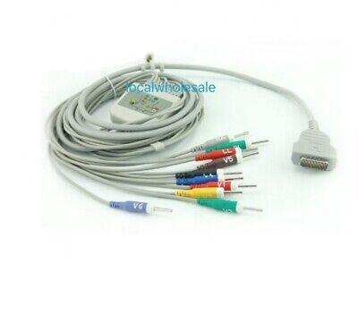 Ge Marquette Ecg Ekg Cable Mec1200 Mec600 10leads Aha Din3.0 Needle