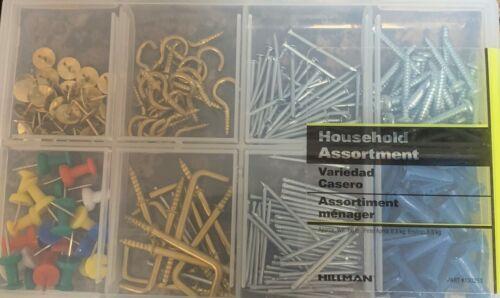 Hillman Household Assortment Kit Includes Pins Screws, Nails, Hooks. Anchors.