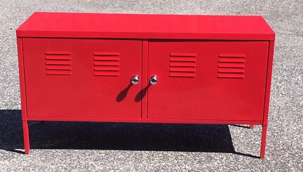 RED IKEA METAL CABINET 119wide X 40deep X 63high